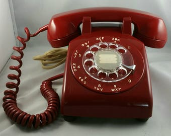 Vintage Rotary Phone, Red Colored Rotary Desk Phone, Northern Telecom Rotary Phone