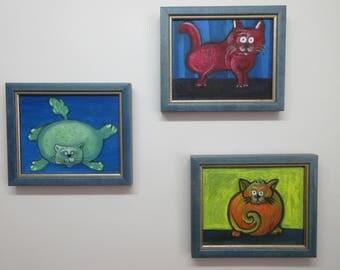 Lovely Signed 3 CAT Kitten PAINTING Oil on Canvas Cardboard Wood FRAMED Folk Art