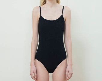 vintage black swim suit | black textured one piece bathing suit | black scoop back swimsuit | minimal scoopback swim | small | 1990s | 90s