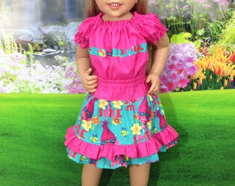 Trolls inspired Skorts and/or Top. Sizes 12m-12 yrs. available