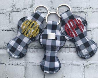 Black and White Plaid Chapstick Holder Keychain | Monogrammed Keychain | Personalized Chapstick Holder | Personalized Gifts | Lipstick