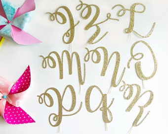 Script Letter J, K, L, M, N, O, P, Q, R Cake Topper, Wedding Day, Last Name Initial, Elopement, Baby's Birthday, Holy Communion, Anniversary