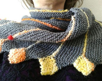 """Spark"" shawl made with handspun wool"