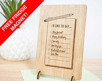Checklist wooden gift card. Perfect for birthday, friendship, I'm sorry, farewell, feel better, love you. All occasions timber card.