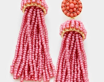 Beaded Tassel Earrings (Dusty Pink)