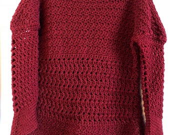 Crochet pullover sweater in red wine