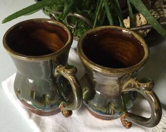 Mugs (set of 2) Handmade Pottery, 8 oz., Seaweed Green over Latte Brown