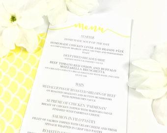 Beautiful Yellow & Grey Wedding Table Menus