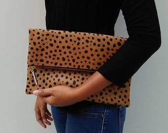 SUMMER SALE Leopard clutch, Genuine leather, leopard fold over clutch, leopard print clutch, leopard leather clutch, leather clutch, leopard