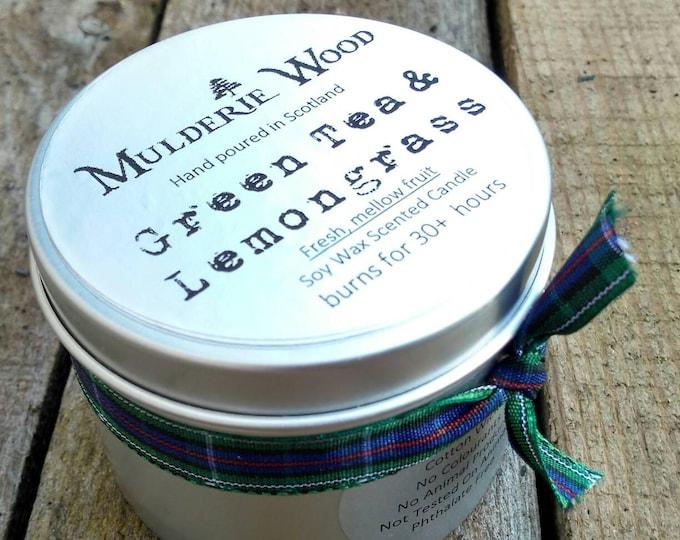 Handmade Green Tea & Lemongrass Scented Soy Wax Tin Candle 30+ hour burn