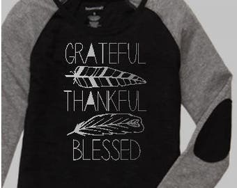 Grateful, thankful, blessed preppy patch Raglan ~ thanksgiving shirt ~ women's thankful shirt