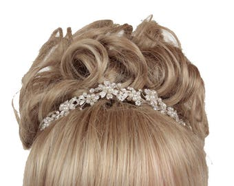 Wedding Tiara, Bridal Tiara, Silver Plated Crystal Tiara, Wedding Tiara, Bridal Tiara, Pearl Tiara, Crystal Tiara, Wedding Accessories