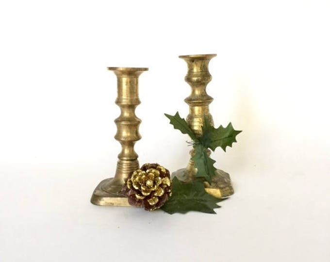 CLEARANCE Rustic Vintage Brass Candlesticks - Mismatched Pair Taper Candle Holder