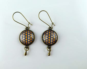 """Bronze Stud Earrings, cabochons and connector drop """"honeycomb pattern"""