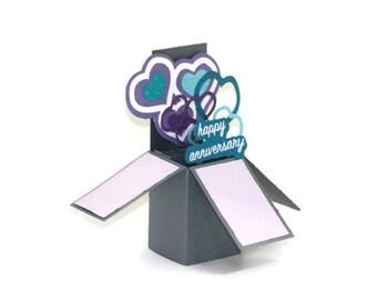 Handmade Pop Up Box Card, 3D Anniversary Card, Purple & Teal Hearts, Unique Handmade Card, Love Pop Up Card, Happy Anniversary, Valentine's