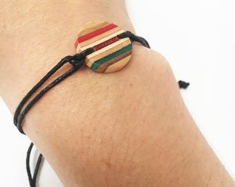 Recycled skateboard and silver leaf charm bracelet