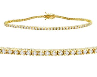 "2.25ct Natural Round Brilliant Diamond 14k Yellow Gold Ladies Tennis Bracelet 7"""