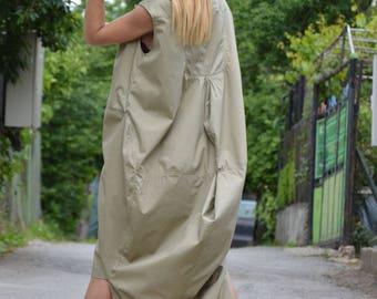Asymmetric Beige Cotton Dress, Extravagant Daywear Zipper Dress, Long  Casual Tunic, Plus Size Maxi Dress, Sleeveless Dress by SSDfashion