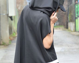 New Black Hooded Maxi Jacket, Asymmetric Short Sleeves, Extravagant Neoprene Sweatshirt by SSDfashion