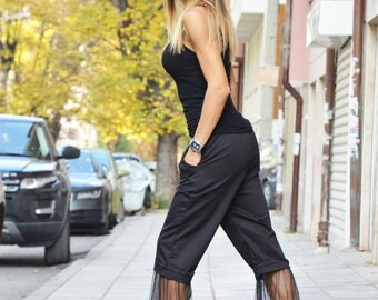 Women's Black Pants, Black Cotton Pants, Extravagant Loose Pants, Maxi Trousers With Tulle, Plus Size Clothing by SSDfashion