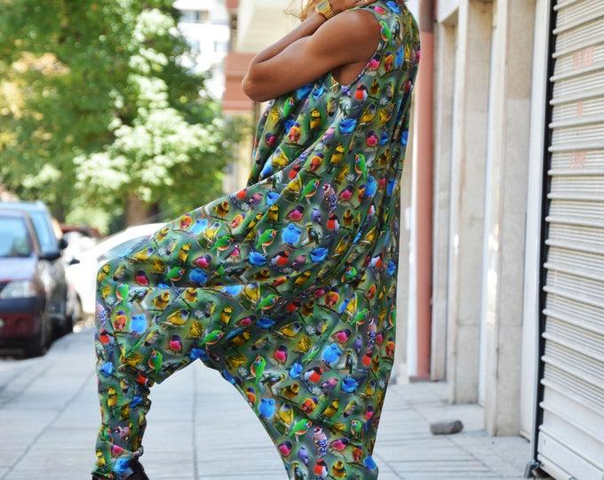 Womens Colorful Jumpsuit, Cotton Loose Jumpsuit, Casual Birds Printed Jumpsuit, Maxi Jumpsuit, Summer Drop Crotch Pants by SSDfashion