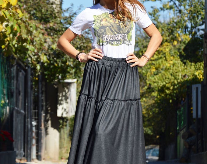 Long Black Denim High Waisted Skirt, Loose Wide Skirt Dress, Elegant Maxi Extravagant Skirt by SSDfashion