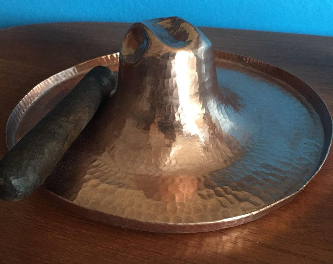 "Handcrafted hammered copper cowboy hat ashtray/candy dish (7""diameter)"