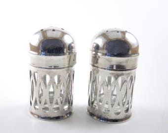 English Miniature Silver Plate Salt and Pepper Shakers with Glass Inserts, Boxed, Made in England, Vintage Silver Gifts