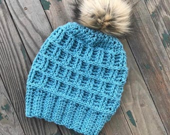 READY TO SHIP Crocheted adult size slouchy beanie with faux fur pompom