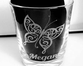 Engraved Butterfly Tumbler Glass - New - Personalised