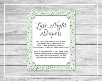 Mint and Silver Baby Shower Late Night Diapers Sign - Printable Baby Shower Late Night Diapers Sign - Mint and Silver Baby Shower - SP152