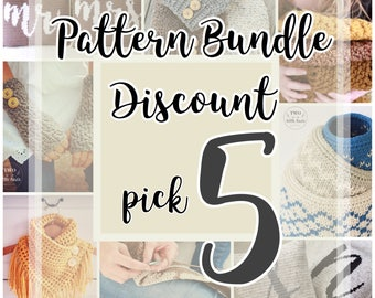 Crochet Pattern Bundle {5}, choose any 5 patterns, crochet pattern discount, crochet pattern deal