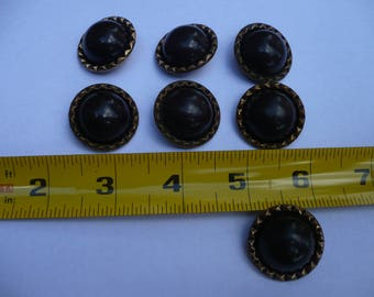 Set of  Brown Domed Buttons