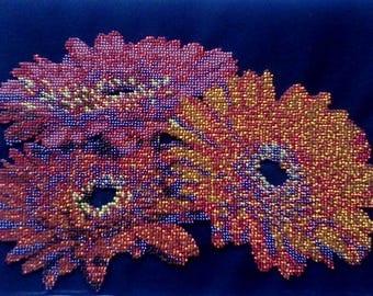 "Gerbera flowers. Handmade embroidery beads. Made in Ukraine - ""РІДНИЙ КРАЙ"""