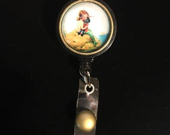Baby Mermaid-  -Nurse Retractable ID Badge Reel/ RN Badge Holder/Doctor Badge Reel/Nurse Badge Holder/Nursing Student Gifts