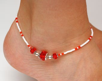 Beachy anklet Red Orange Bright anklet Summer accessories Beach accessories Foot jewelry Body jewelry Crystal jewelry for her women gift