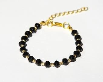 wife gift for her Statement bracelet Black bracelet Bohemian bracelet crystals bracelet Sparkly bracelet Shiny bracelet womens gift ideas
