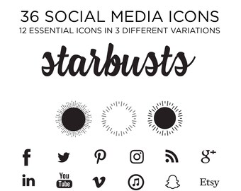Social Media Icons, starbursts, Bohemian Icons, Whimsical Icons, Trendy Icons, Simple Icons, Blog icons