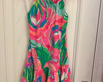 ISABEAU DRESS made with authentic lilly pulitzer fabric Serene Blue Paradise Bound