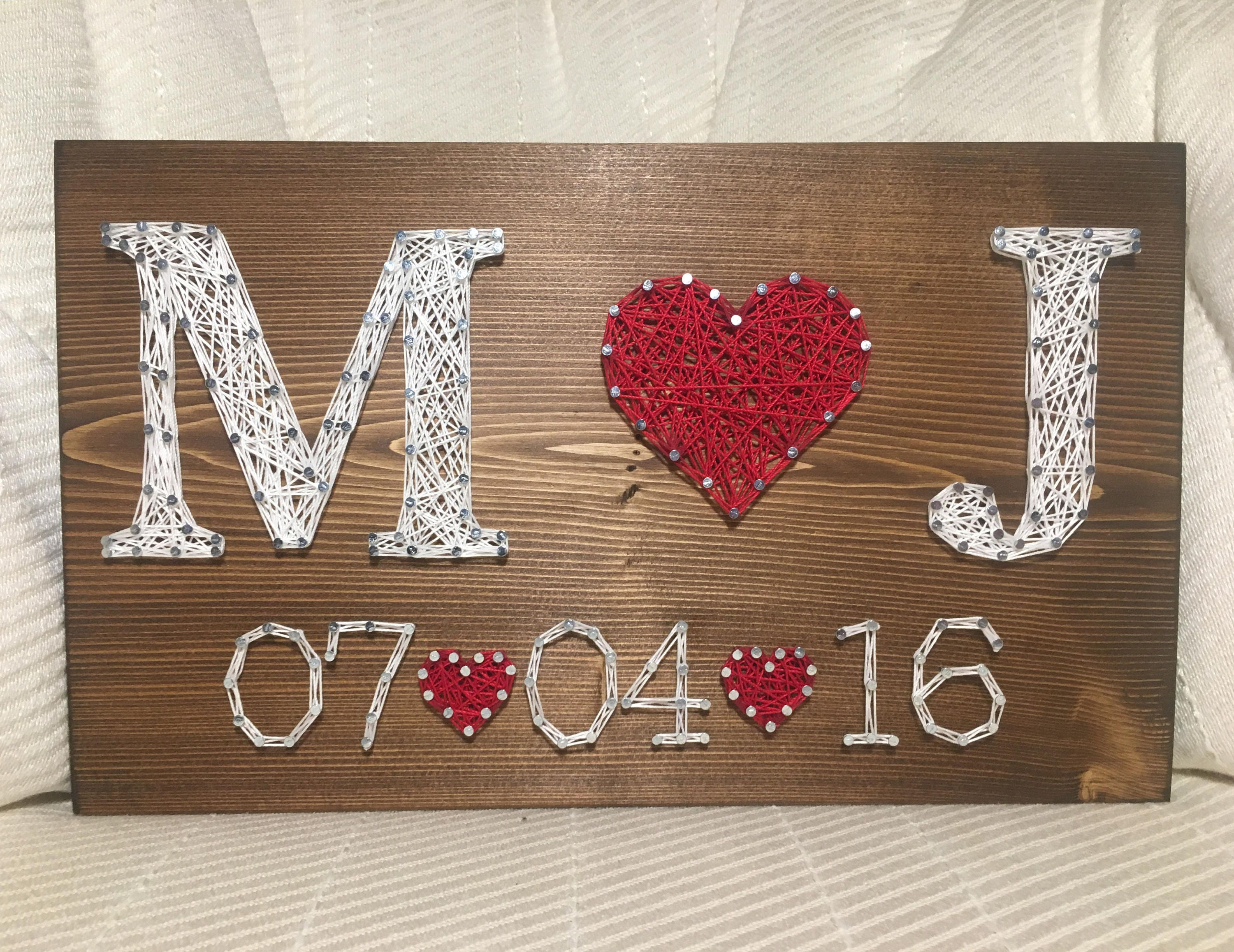 Wedding Date Picture Gift: CUSTOM Wedding/Anniversary String Art Sign Date Art Wall