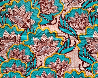 "African Print Fabric/ Ankara - Turquoise, Pink ""Aflao Lotus"", YARD or WHOLESALE"