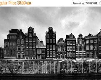SALE Amsterdam Flower Market Printable Photograph Amsterdam Canal Houses Digital Art Download Black & White Architecture Instant Download Tr