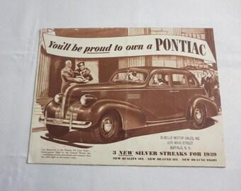 1939 Pontiac Sales Brochure Silver Streak De Luxe Cabriolet Station Wagon +
