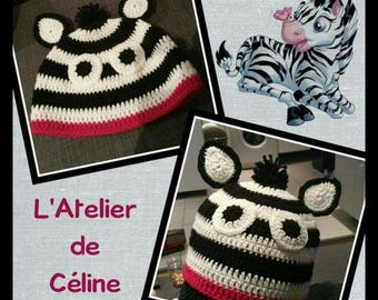 Zebra baby Hat crochet - newborn gift - baby child
