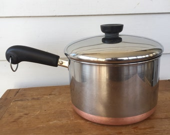 Revere Ware 3 Quart Cook Pot with Lid Copper Bottom Mid Century Modern