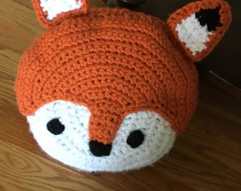 Croche Fox pillow, fox cushion, stuffed fox, round fox pillow