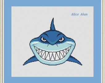 Cross Stitch Pattern Silhouette Smiling Shark Cartoons Finding Nemo marine Counted Cross Stitch Pattern/Instant Download Epattern PDF File