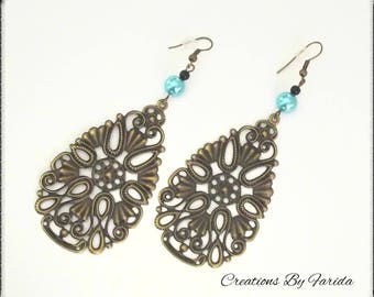 These bronze Teardrop filigree earrings and beads turquoise/black
