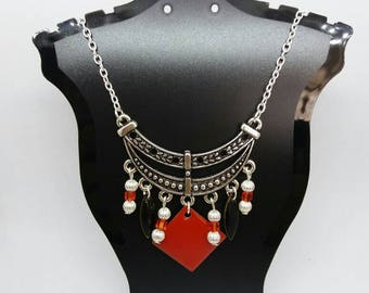 Silver beads, sequins, red and black bib necklace