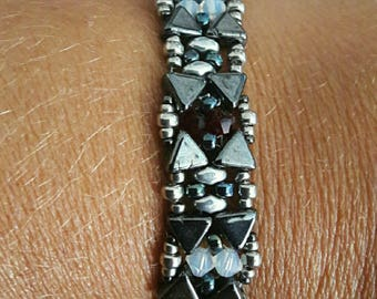 KHEOPS® black and silver and swarovski crystal bracelet